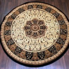STUNNIG 150X150CM CIRCLE RUGS WOVEN BACK HAND CARVED BLACK/IVORY RANGE RUG/MAT